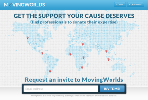MovingWorlds home page for organizations
