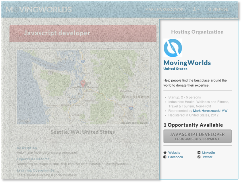 Org Profile Display on MovingWorlds