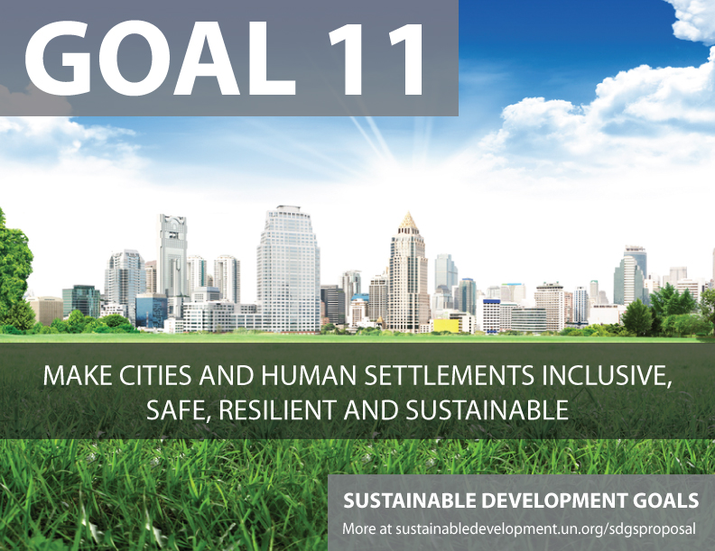 SDG Goal 11 is about inclusive cities  from United Nations Sustainable Development Goals