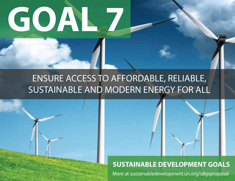 SDG Goal 7 is sustainable energy from United Nations Sustainable Development Goals