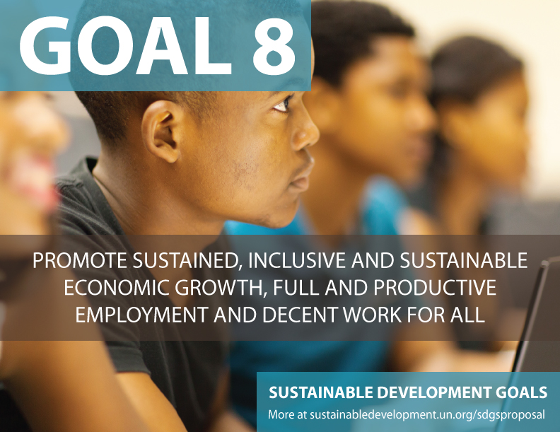 SDG Goal 8 is sustainable economy  from United Nations Sustainable Development Goals