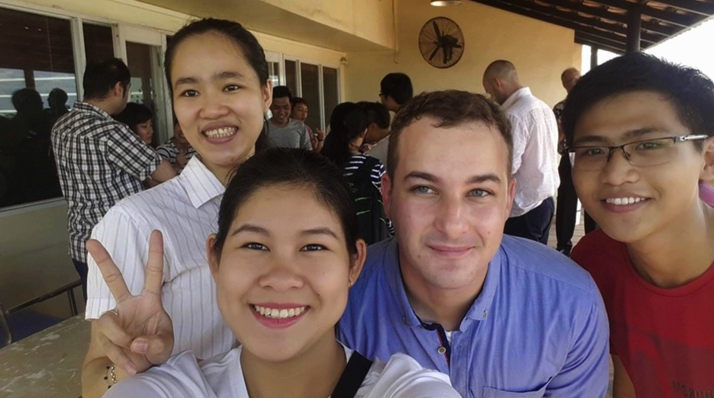Matt Edward with some students. He currently lives in Vietnam with his wife and works as an English teacher. He and his wife plan to start their own business in the Vietnam in the coming months.