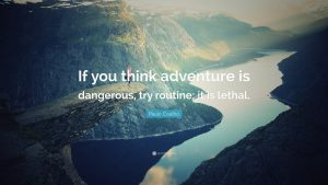 """If you think adventure is dangerous, try routine; it is lethal."""
