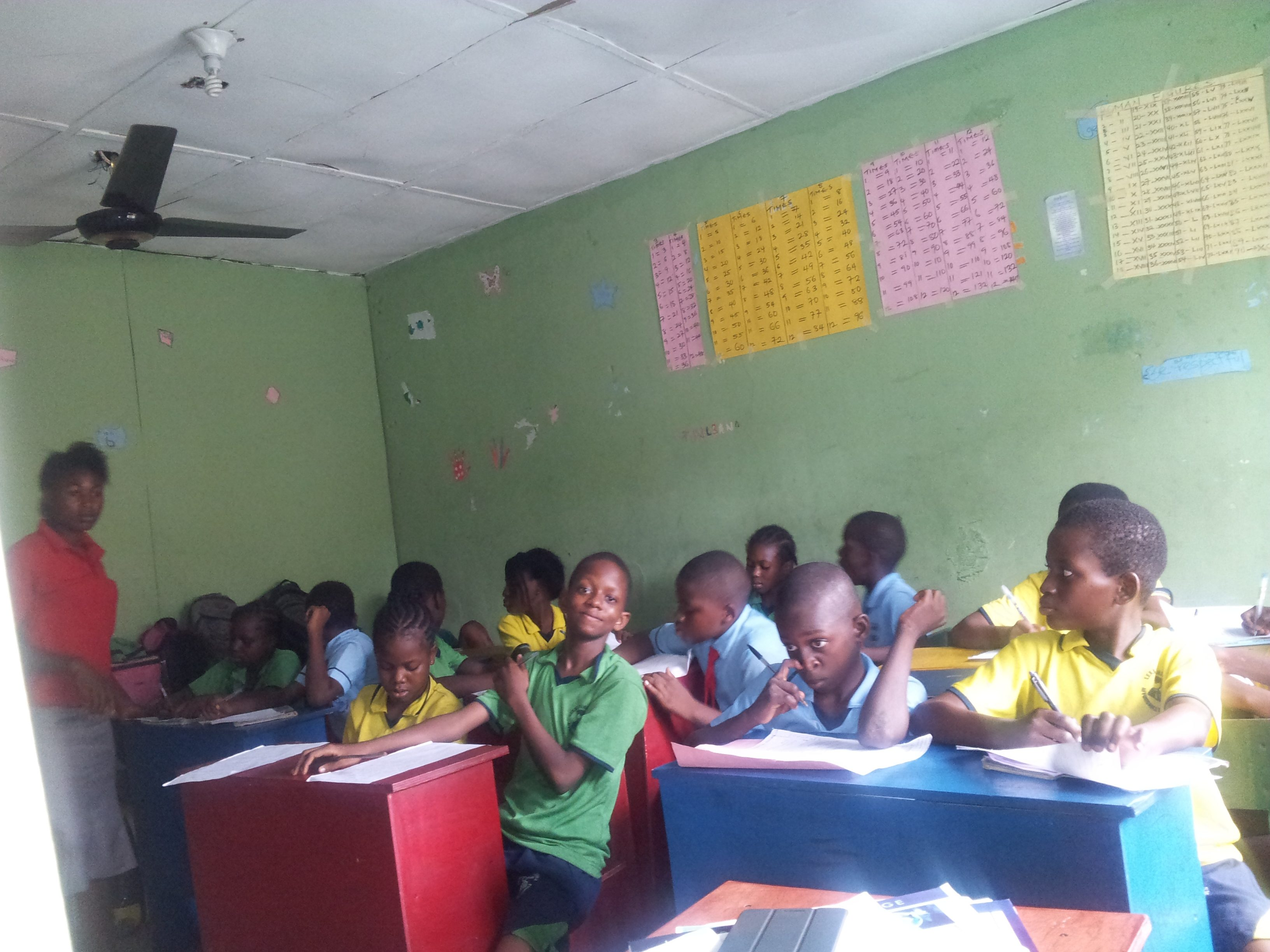 Students studying in the Lekki School classroom.
