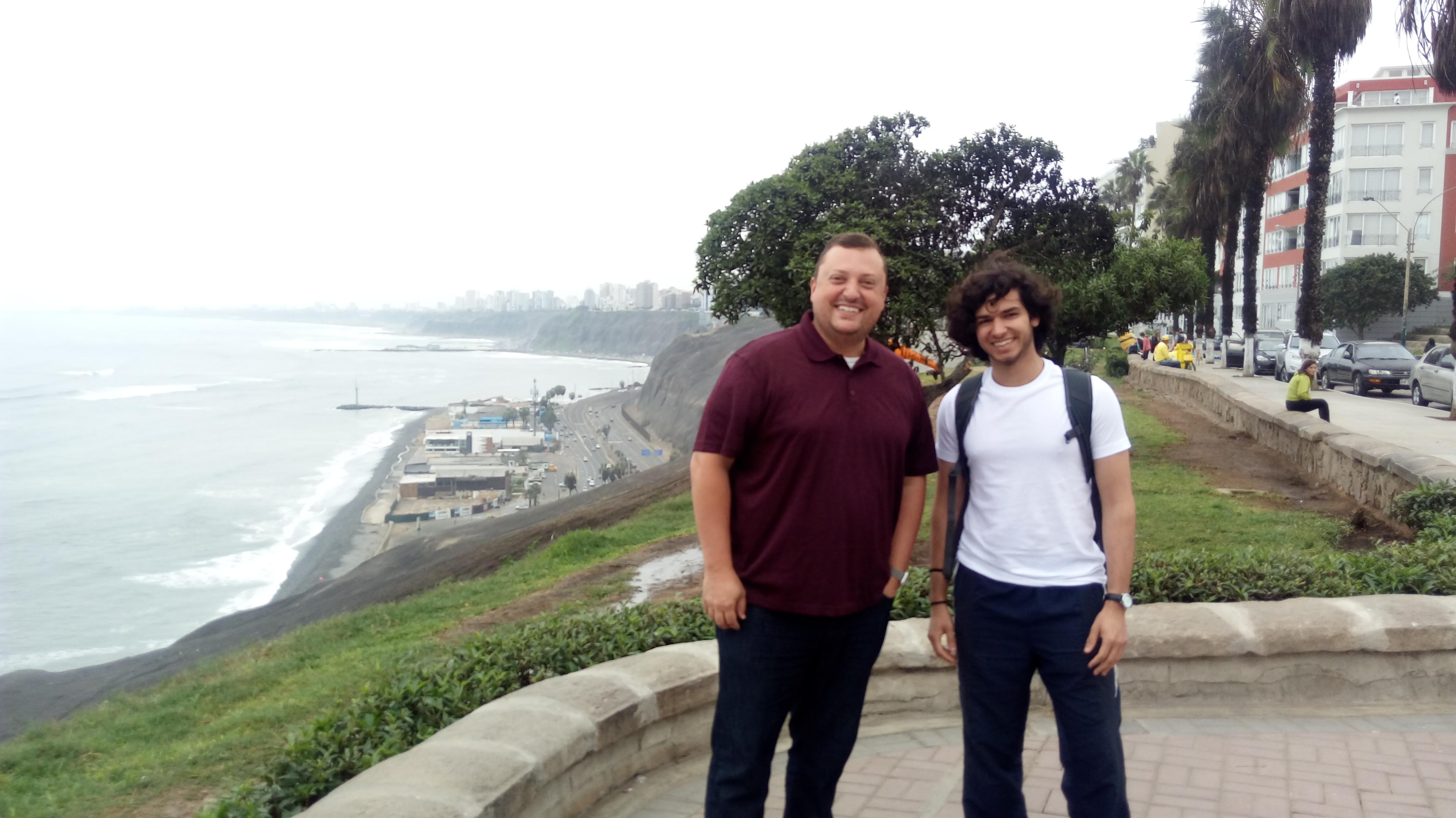 Jeremy and Varun on the malecon on Miraflores, Lima.