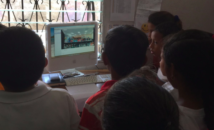Global Communication: students in Nicaragua learn about their global partners in the US, talk about volcanos, sing songs, and learn they have a lot in common!