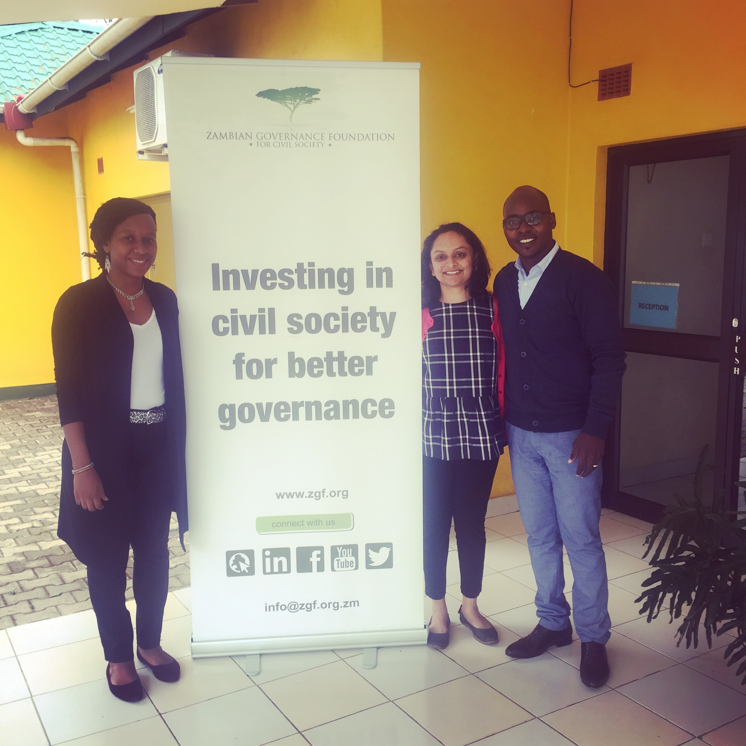 Ankita on her first day at the Zambian Governance Foundation. She was welcomed by ZGF staff who shared their work with her.
