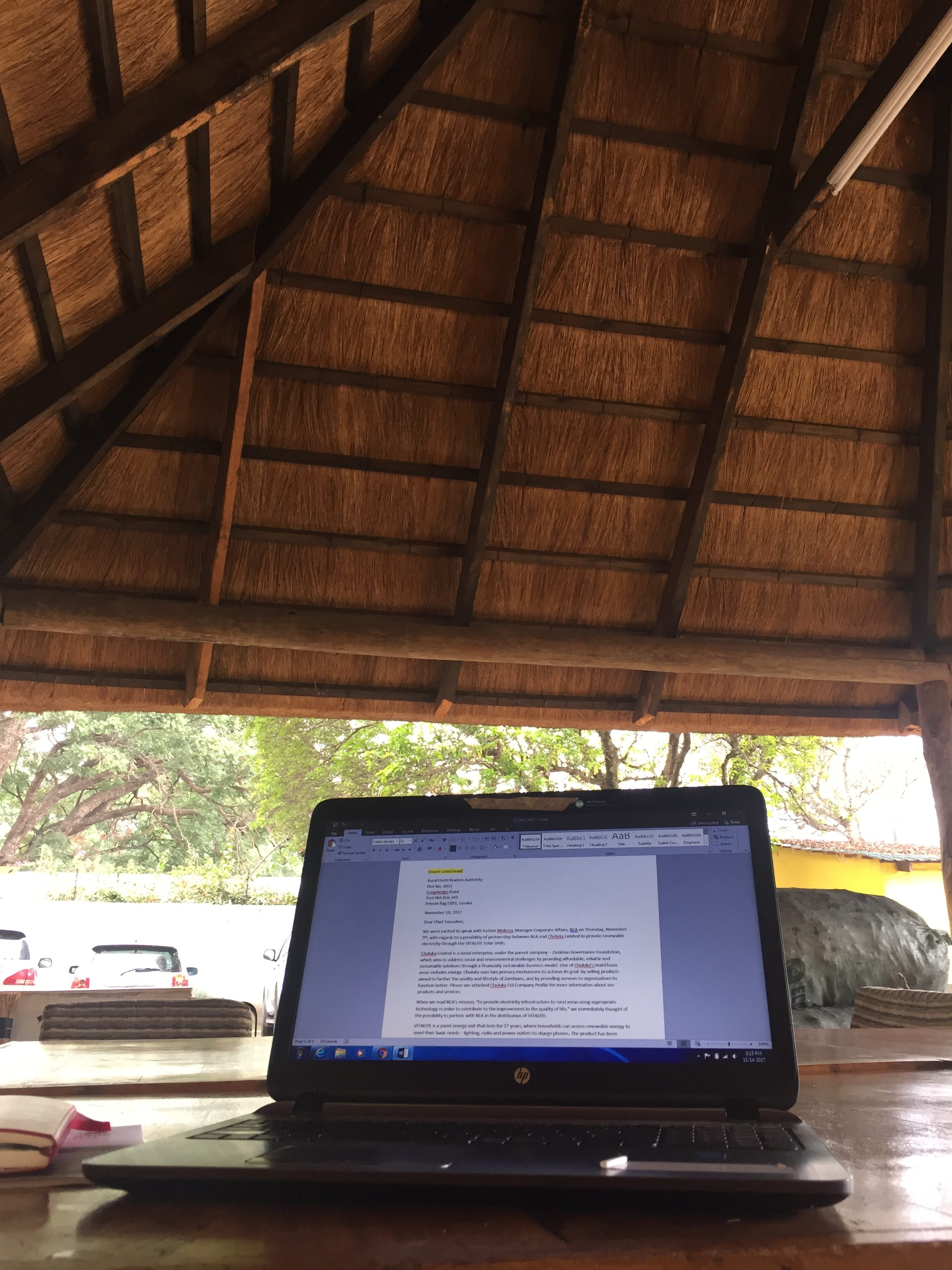 Sometimes in the afternoon, Ankita went outside and worked in a hut (even though they had fantastic offices). It reminded her of having class outdoors in primary school.