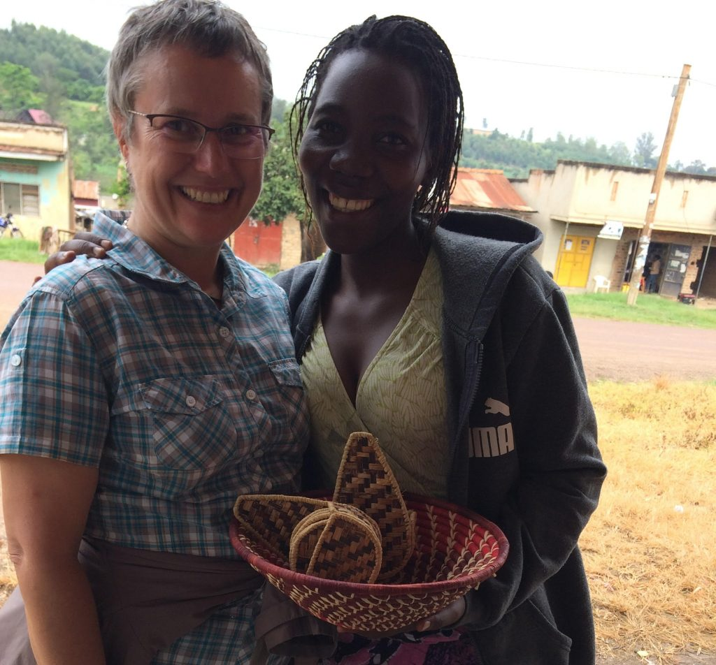 Susan with one of the women in her microfinance program.