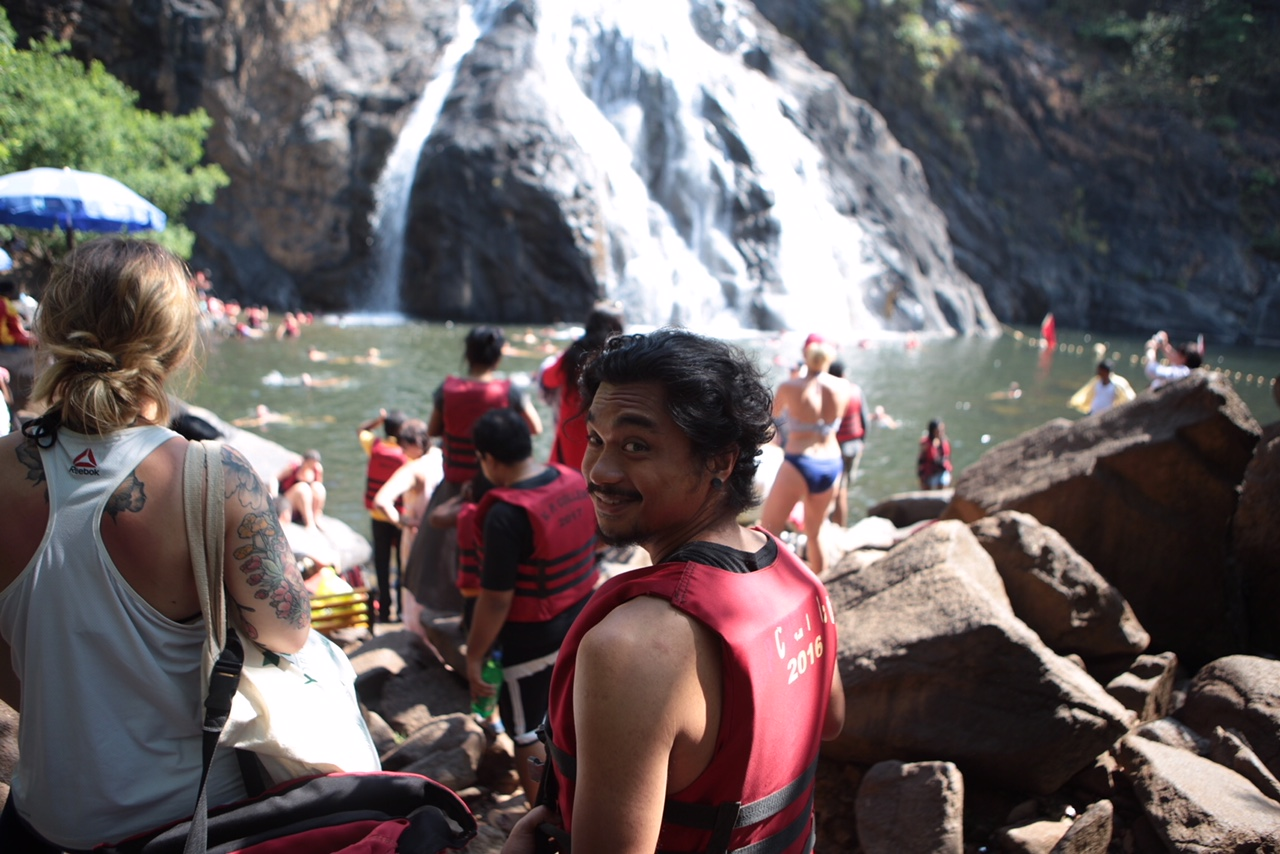 Carlo on a team outing to a local waterfall.
