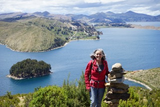Laurie hiking the beautiful mountains of Bolivia.
