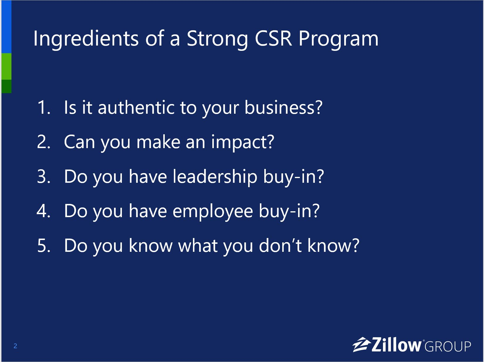 ingredients of a strong csr program zillow group