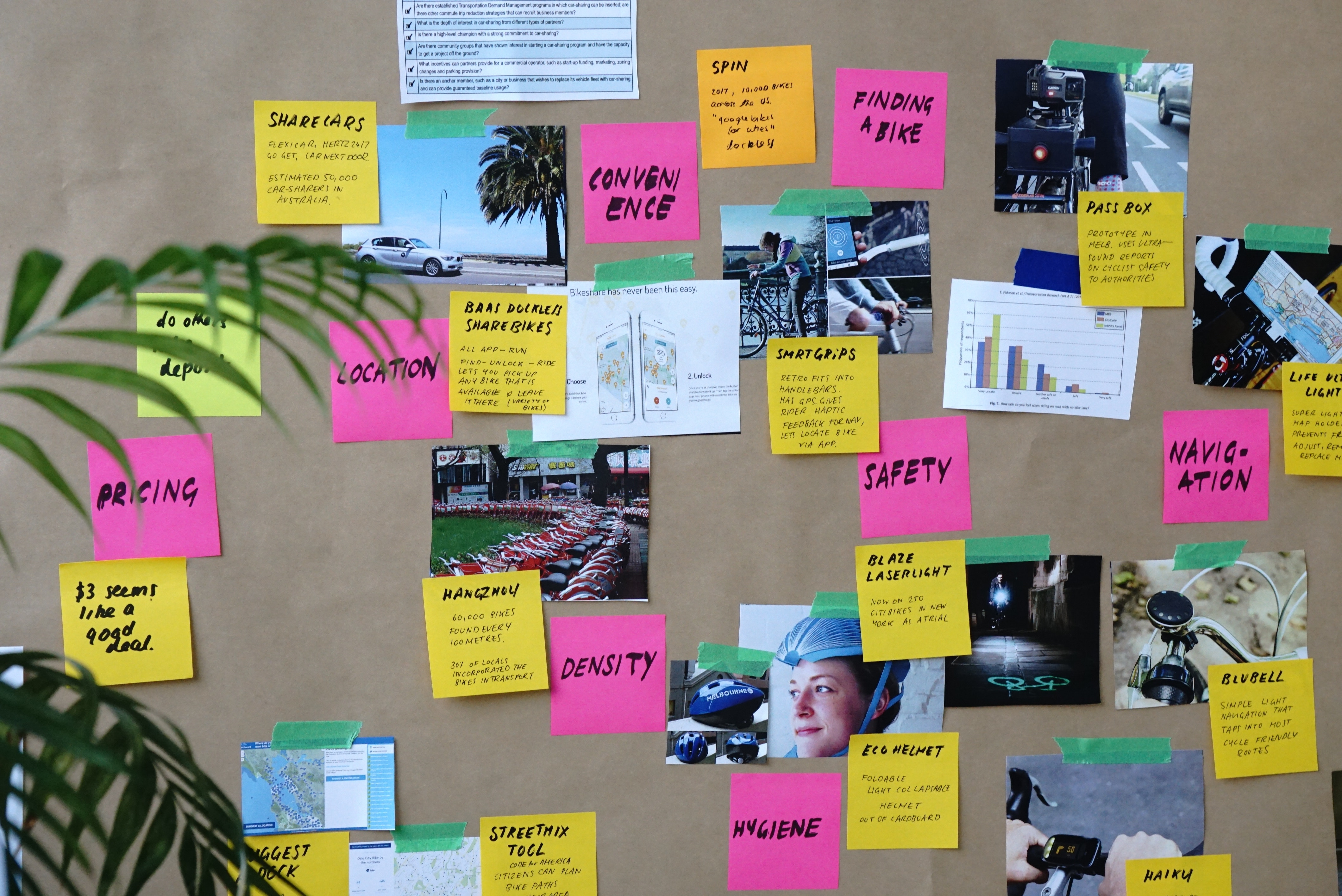 sticky notes for human-centered design exercise