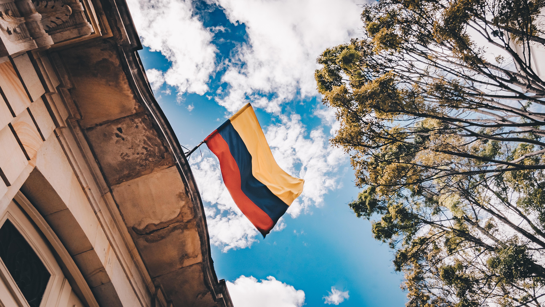Colombian flag against the sky in Bogota