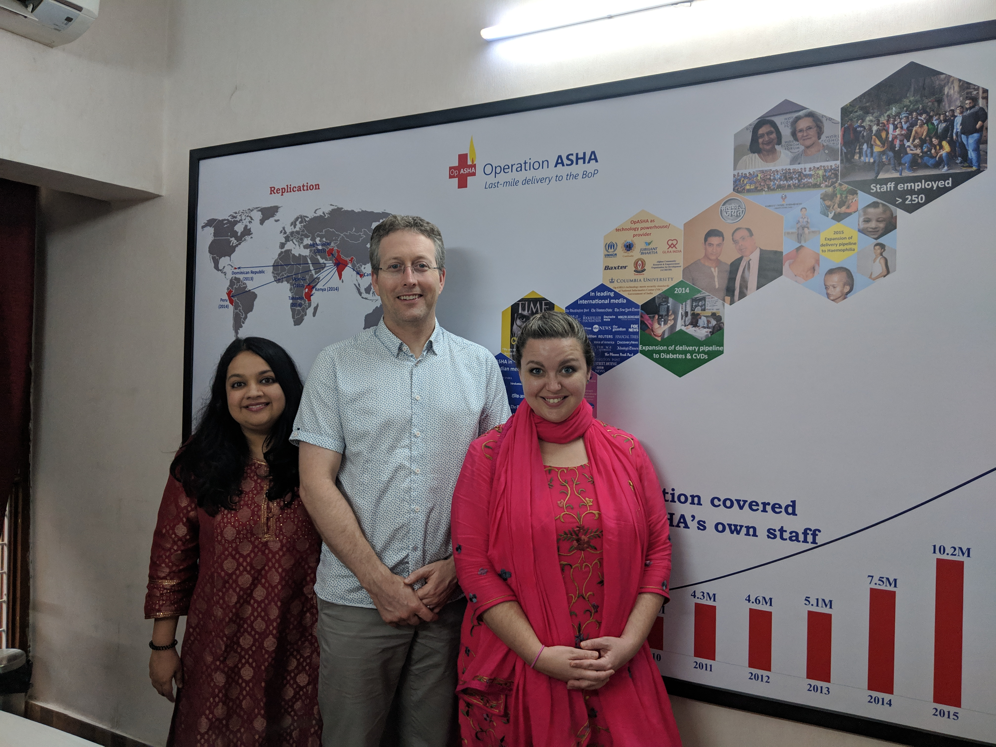 Tableau volunteers Michael and Lauren with Operation ASHA Director Sonali in front of a poster in the Operation ASHA offices