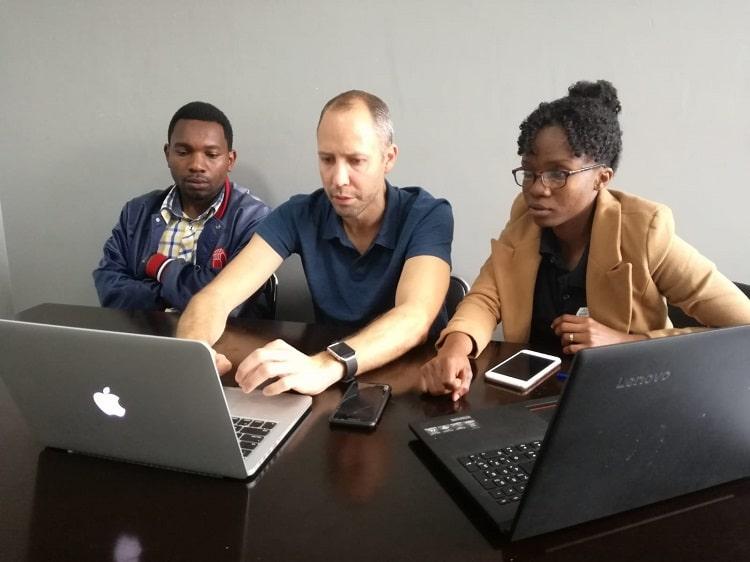 Volunteer Darren mentoring social entrepreneurs in Tanzania